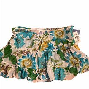 Liquid Blue floral sheer ruffle skirt